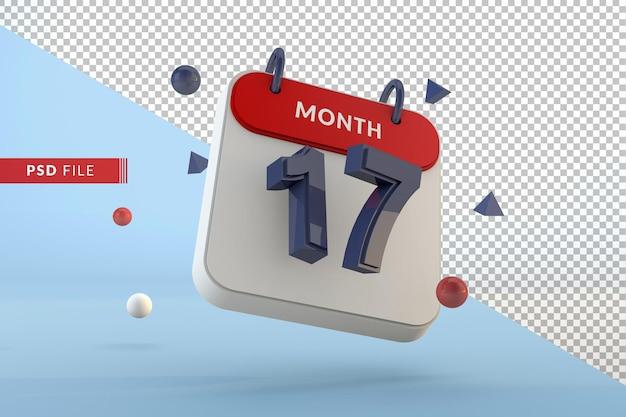 Modelo isolado número 17 do calendário renderização em 3d