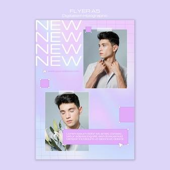 Modelo masculino de digitalismo holográfico flyer template