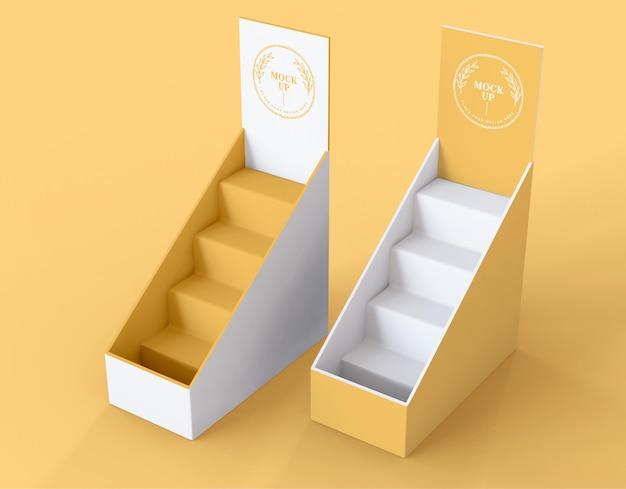 Modelo minimalista de expositores amarelos
