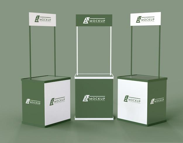 Modelo minimalista de expositores verdes