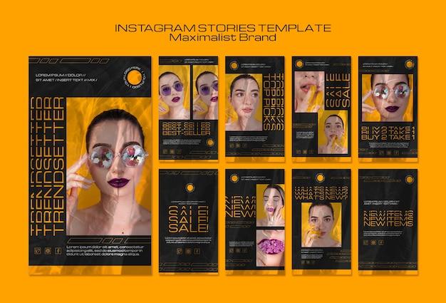 Modelo minimalista de histórias do instagram