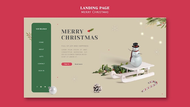 Modelo minimalista de página de destino festiva de natal