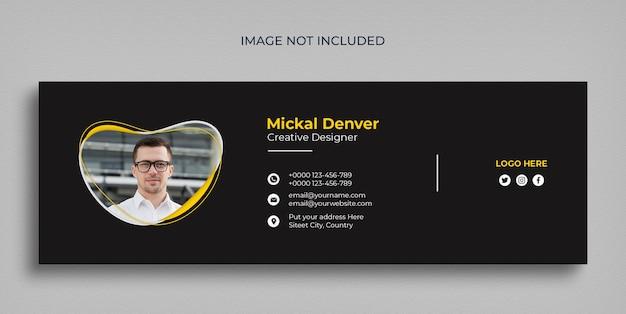 Modelo mínimo de assinatura de e-mail ou rodapé de e-mail e design de capa de mídia social pessoal