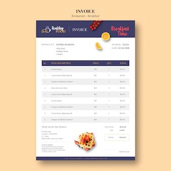 Modelo mínimo de fatura para restaurante