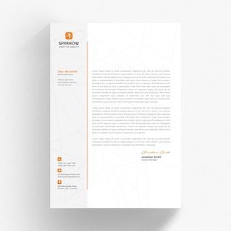 Modelo mínimo de papel timbrado com detalhes laranja