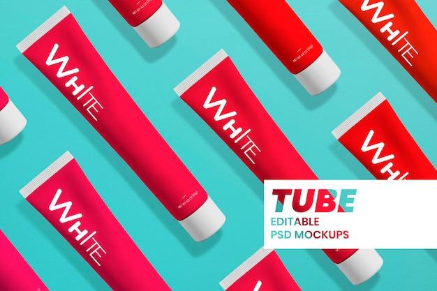 Modelo mínimo de tubo de pasta de dente psd em preto e branco