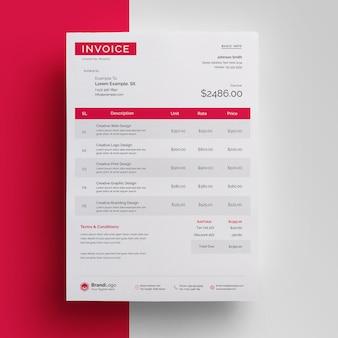 Modelo moderno de fatura profissional em vermelho e preto