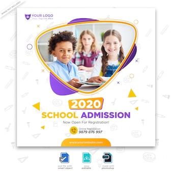 Modelo para admissão de volta à escola para publicação em mídia social