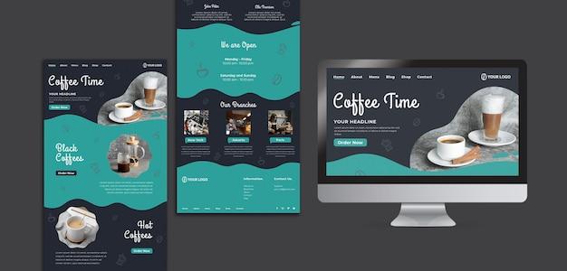 Modelo para mídia social com café