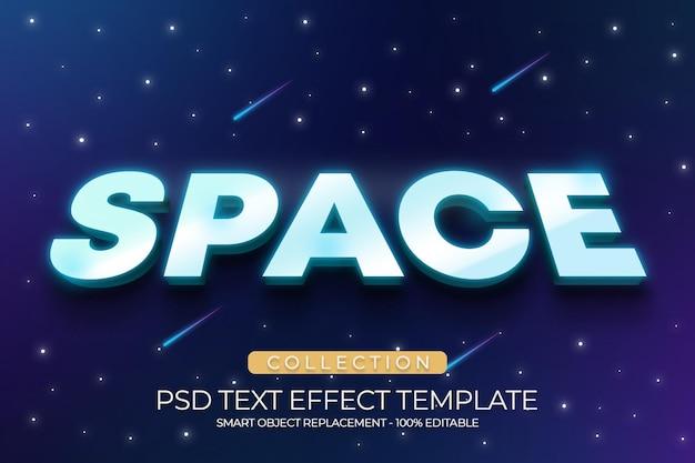 Modelo personalizado de efeito de texto 3d com estrelas de galáxia no espaço