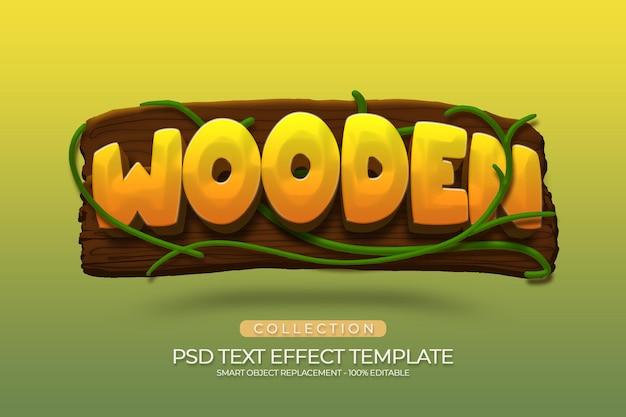 Modelo personalizado de efeito de texto 3d de madeira com natureza grama