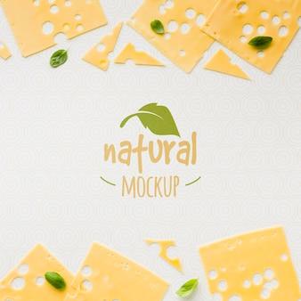 Modelo plano de maquete de queijo cultivado localmente