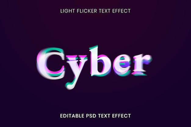 Modelo psd de efeito de texto 3d, tipografia de fonte de luz cintilante