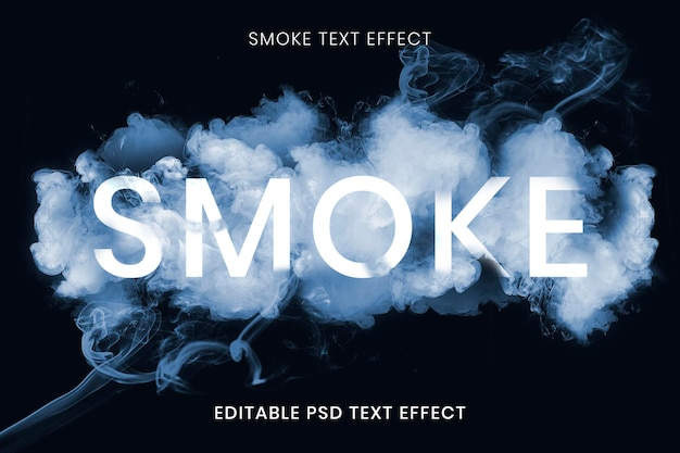 Modelo psd de efeito de texto de fumaça editável