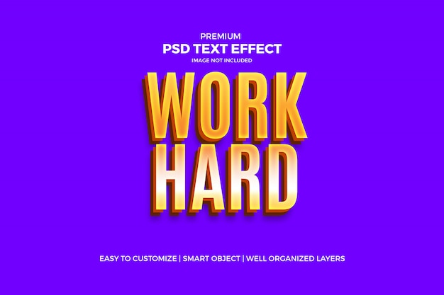 Modelo psd de efeito de texto dourado duro de trabalho