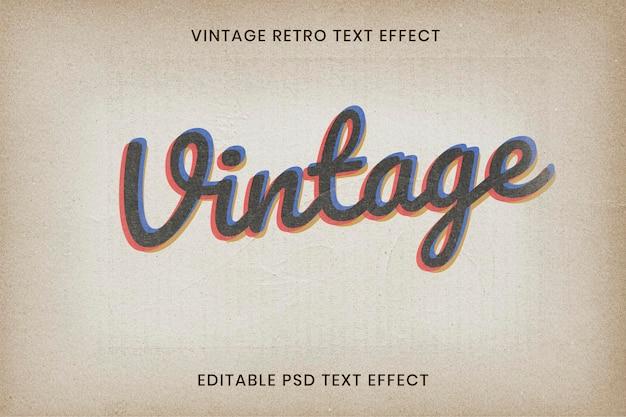 Modelo psd de efeito de texto vintage editável