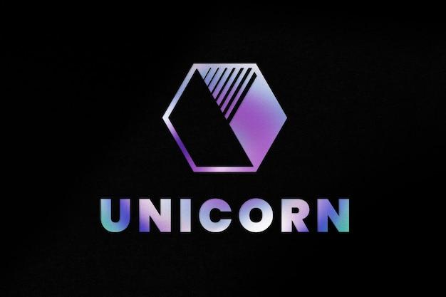 Modelo psd de logotipo comercial de unicórnio colorido em estilo de efeito de texto em néon
