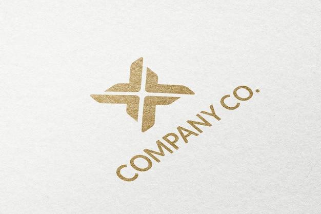Modelo psd do logotipo comercial da company co. em textura de papel em relevo