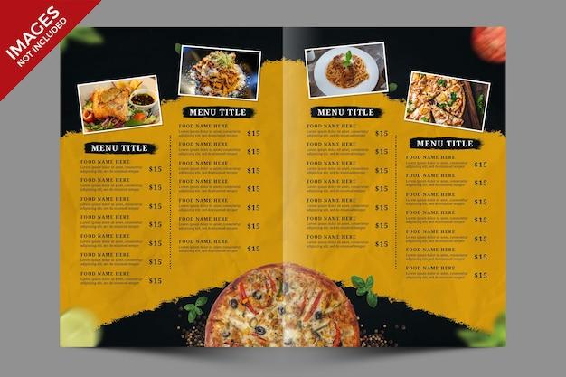 Modelo psd premium de promoção de comida de restaurante escuro e amarelo bifold