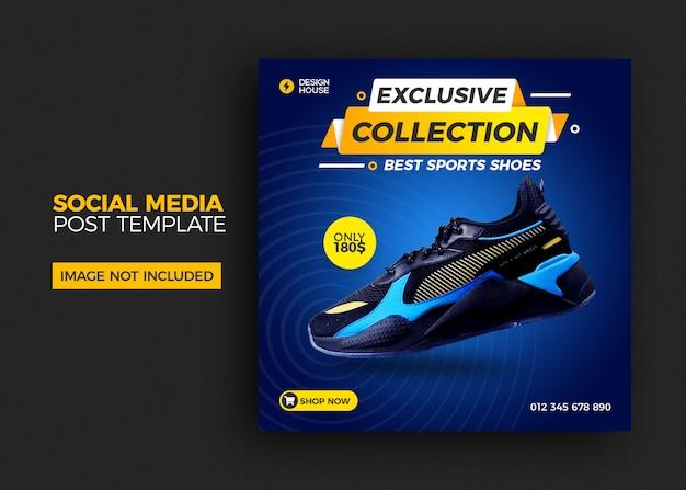 Modelo quadrado com venda de sapatos para post de mídia social