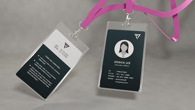 Modelo realista de cartão de identificação de escritório