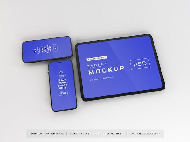 Modelo realista de maquete de smartphone e tablet