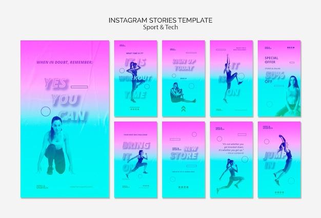 Modelo total de histórias do instagram de treino