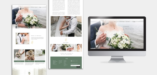 Modelo web elegante com landing page para casamento