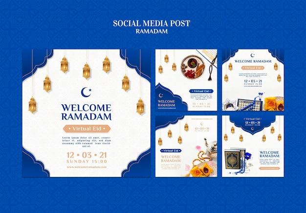 Modelos criativos de postagens no instagram do ramadã