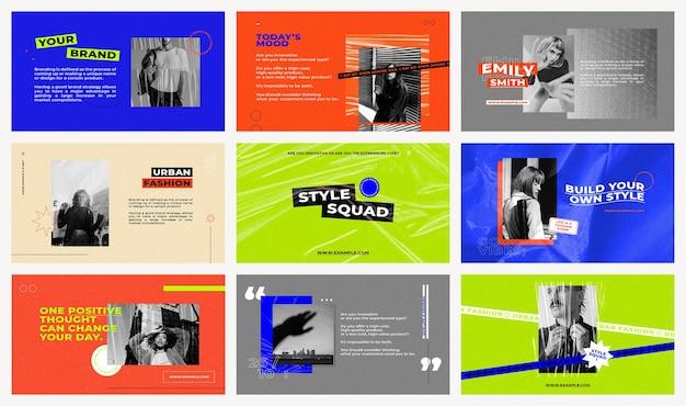 Modelos de apresentação psd definidos com fundos em cores retrô para o conceito de influenciadores de moda e tendências