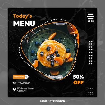 Modelos de banner de mídia social de comida culinária