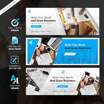 Modelos de banner de negócios criativos web para mídias sociais, banner