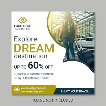 Modelos de banner de postagem de viagem
