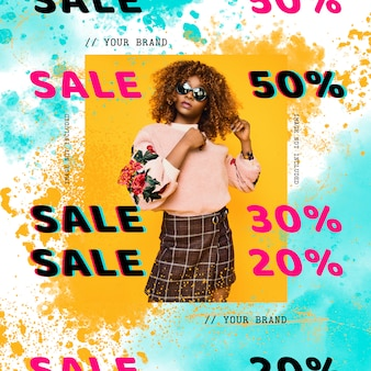 Modelos de banner de venda com manchas de aquarela