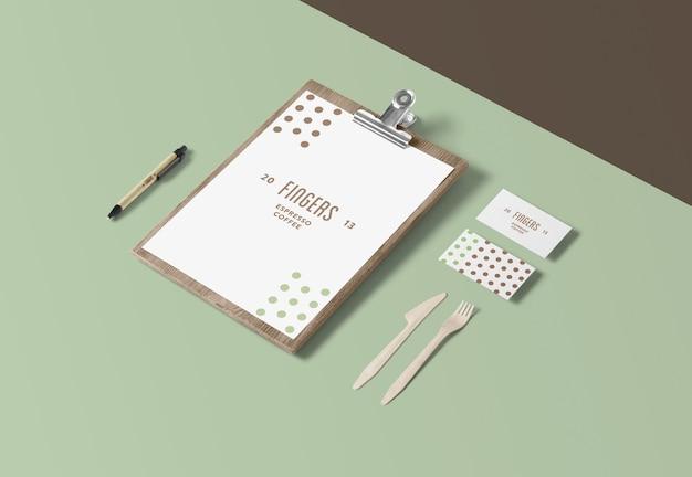 Modelos de cardápio e cartão de visita isolados