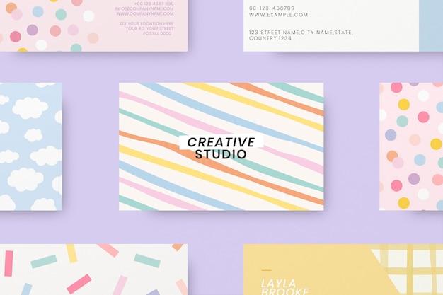 Modelos de cartão de visita editáveis psd em padrão pastel fofo