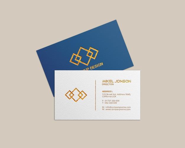 Modelos de cartão de visita maquete, vista superior