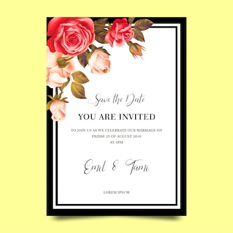 Modelos de convite de casamento com quadros de rosa