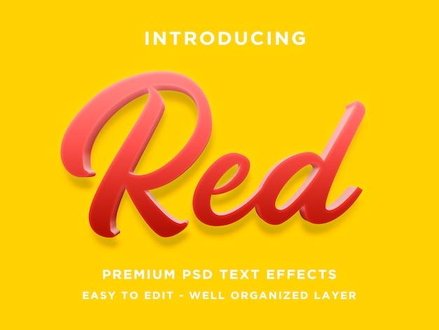 Modelos de efeito de texto 3d vermelho