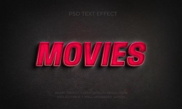 Modelos de efeito de texto estilo 3d de filmes
