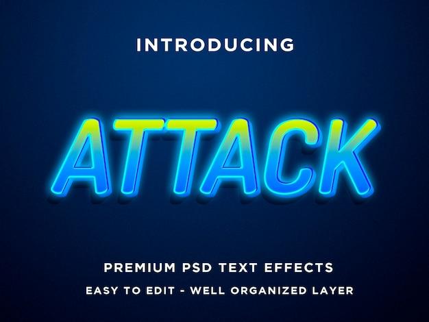 Modelos de efeitos de texto azul verde de ataque
