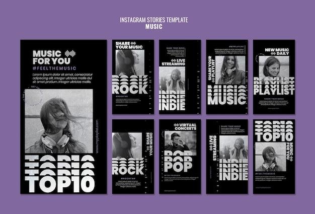 Modelos de história de mídia social de música com foto