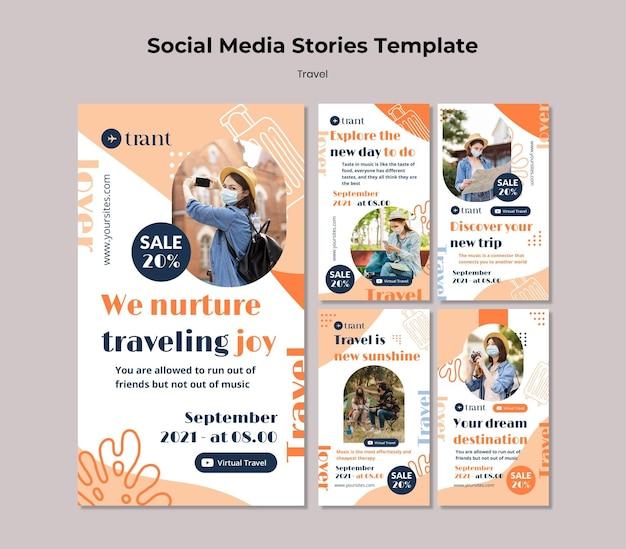 Modelos de histórias de mídia social em viagem