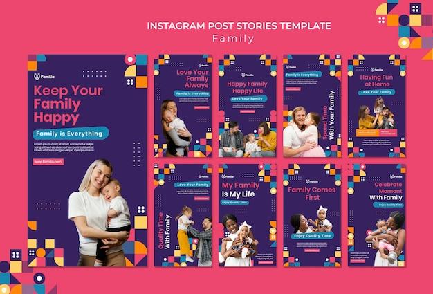Modelos de histórias de mídia social inspirados na família