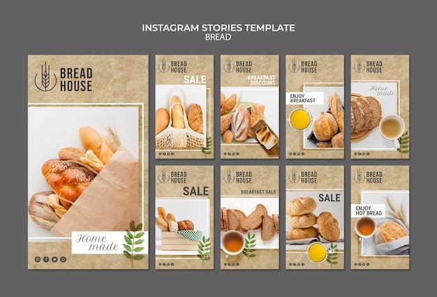 Modelos de histórias de pão recém-assados