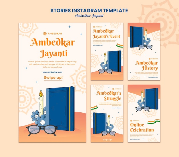 Modelos de histórias do instagram ambedkar jayanti