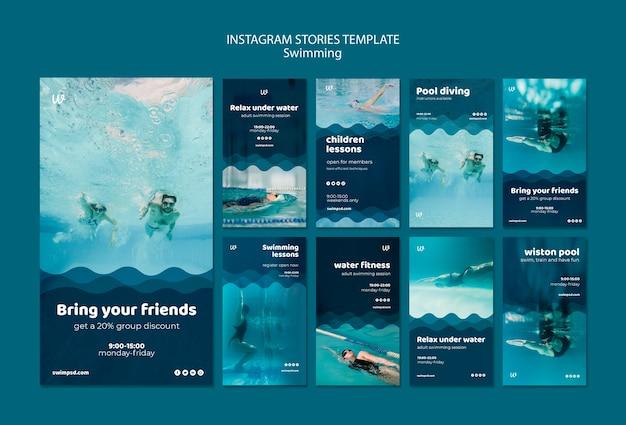 Modelos de histórias do instagram para aulas de natação