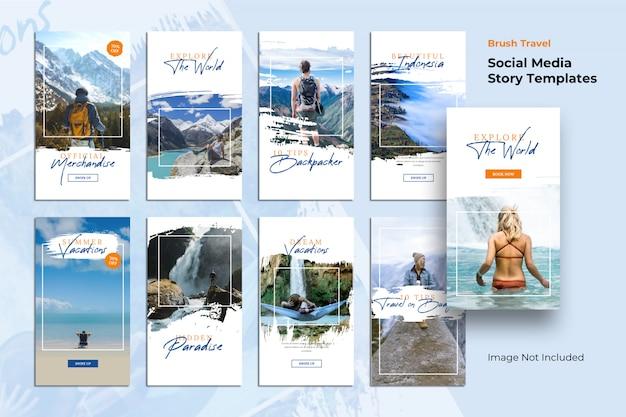 Modelos de histórias escova de viagem banner de mídia social