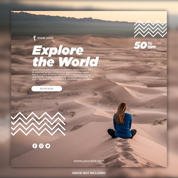 Modelos de instagram de banner de mídia social de aventura de viagem