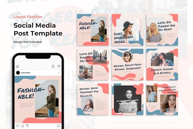 Modelos de instagram de mídia social de moda pastel líquido